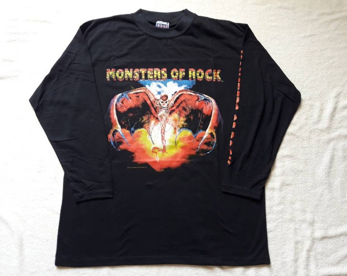 Featured listing image: Vintage Rare 1992 Iron Maiden Monsters Of Rock Tour Long Sleeve Tee Vtg 1990s 90s Heavy Metal Concert T Shirt Skid Row Slayer WASP Thunder