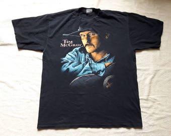 Vintage 90s Tim McGraw Tee Vtg 1990s Country Music T Shirt Garth Brooks Dolly Parton