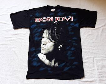 Vintage 1993 Bon Jovi Tour T Shirt Vtg 90s 1990s Heavy Glam Metal Tee Tshirt Motley Crue Aerosmith Poison Skid Row OVP All Over Full Print