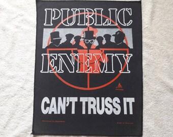 Vintage 1991 Public Enemy Back Patch Chuck D Flavor Flav Terminator X Backpatch