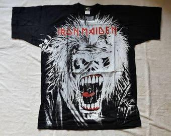 Vintage Rare 1991 Iron Maiden Tee . Vtg 90s 1990s Allover Print Heavy Metal Tshirt T Shirt Judas Priest OVP