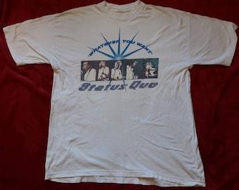 Vintage 1997 Status Quo Tour Tee . Vtg 90s 1990s Hard Rock Concert T Shirt Slade ZZ Top