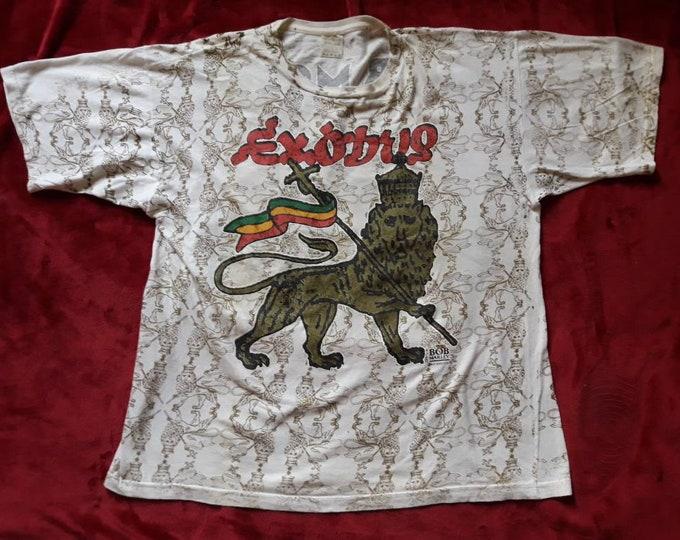 Featured listing image: Vintage Rare 1990 Bob Marley  Tee . Vtg 90s 1990s Ska Reggae Allover Print Tshirt T Shirt OVP