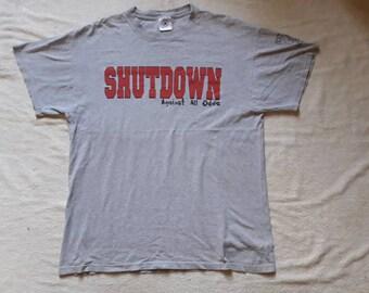 Vintage Rare 90s Shutdown T Shirt Vtg 1990s Hardcore Punk Tee NYHC Warzone Gorilla Biscuits Leeway