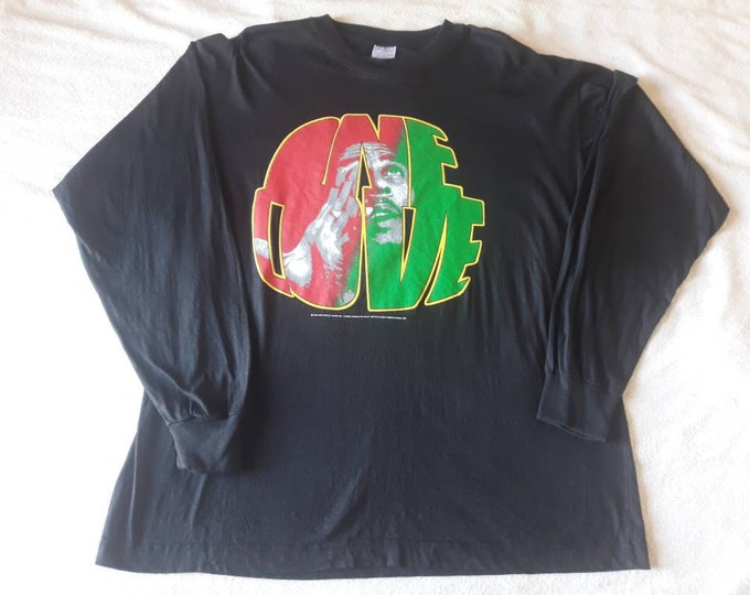 Featured listing image: Vintage 1995 Bob Marley Long Sleeve Tee Vtg 90s 1990s Ska Reggae LS Tshirt T Shirt Ziggy Damian Peter Tosh Michael Jackson Zion Lion Roots