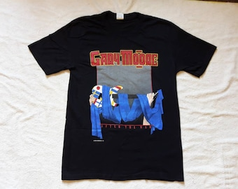Vintage Rare 1989 Gary Moore Tour T Shirt Vtg 80s 1980s Hard Rock Concert Tee Iron Maiden Rory Gallagher Hawkwind Thin Lizzy Cream