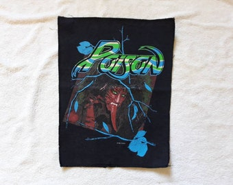 Vintage 1988 Poison Back Patch . Vtg 80s 1980s Heavy Metal Backpatch Motley Crue Skid Row Def Leppard