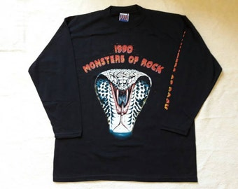 Vintage 1990 Monsters Of Rock Long Sleeve T Shirt . Vtg 90s 1990s Heavy Metal Tour Concert LS Quireboys Poison Aerosmith Whitesnake