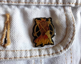 Vintage 80s Slayer Pin Vtg 1980s Thrash Metal Badge Megadeth Anthrax Metallica Hell Awaits Testament Suicidal Sepultura