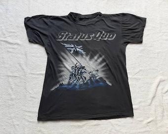 Vintage 1986 Status Quo Tour T-Shirt Vtg 80s 1980s Hard Rock Concert T Shirt Slade ZZ Top Def Leppard Deep Purple Rolling Stones Gary Moore