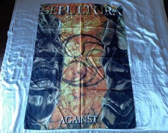 Vintage 1998 Sepultura Poster Flag Vtg 90s 1990s Thrash Metal Metallica Megadeth Anthrax Testament Overkill Helloween Suicidal Slayer