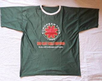 Vintage 1999 Red Hot Chili Peppers Tour Jersey T Shirt . Vtg 90s 1990s Grunge Concert Tee  Mudhoney Soundgarden Tad L7 Hole Breeders RHCP