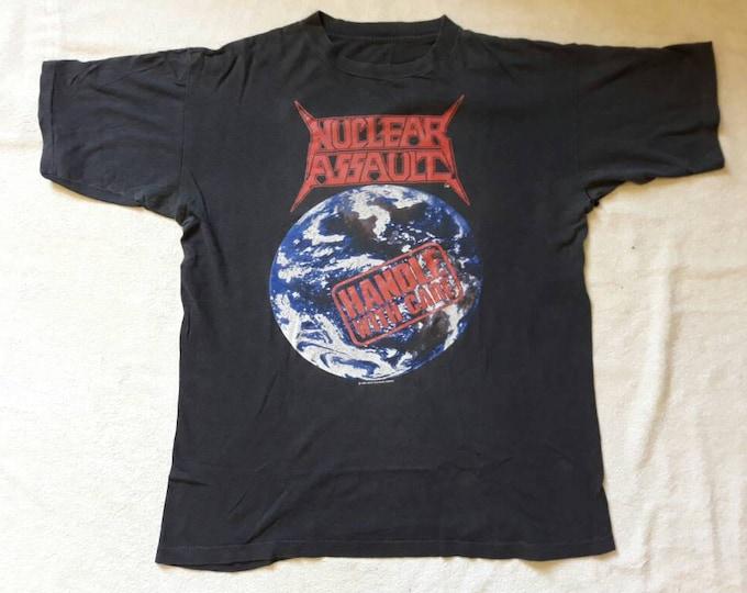 Featured listing image: Vintage 1989 Nuclear Assault Tour T Shirt . Vtg 80s 1980s Thrash Speed Metal Concert Tee Anthrax Megadeth Suicidal