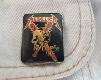 Vintage 80s Metallica Pin Vtg 1980s Thrash Metal Badge Megadeth  Anthrax Slayer Testament Suicidal Sepultura