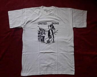 Vintage 90s United Skins T Shirt . Vtg 1990s Punk Tee GBH Crass Public Image Limited SLF UK Subs Sham 69 Vibrators The Adicts Toy Dolls oi