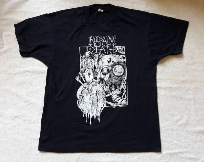 Featured listing image: Vintage 1991 Napalm Death Tour Tshirt Vtg 1990s 90s Grindcore Death Metal Tee T Shirt Earache Terrorizer Grind Crusher Entombed Fudge Tunnel