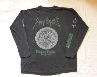 Vintage Rare 1997 Emperor Tour Long Sleeve T Shirt . Vtg 90s 1990s Death Metal Tee  Cannibal Corpse Morbid Angel Bathory Deicide Death