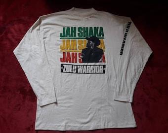 Vintage Rare 1991 Jah Shaka Long Sleeve Tee . Vtg 90s 1990s Ska Reggae Dub Sound System LS Tshirt T Shirt Aswad King Tubby