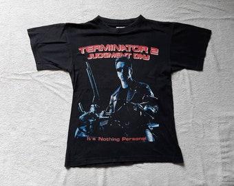 Vintage 1991 Terminator 2 T-Shirt Vtg 90s 1990s Action Movie Film Hollywood Blockbuster Arnold Schwarzenegger Tshirt Judgement Day