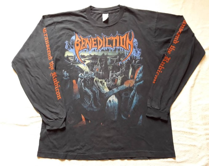 Featured listing image: Vintage Rare 1993 Benediction Concert Long Sleeve Tshirt . Vtg 90s 1990s Death Metal Tour LS Tee Bolt Thrower