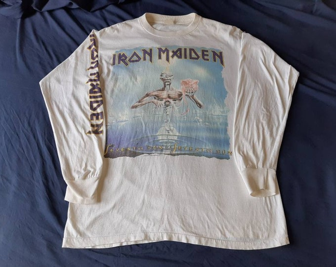 Featured listing image: Vintage Rare 1988 Iron Maiden Long Sleeve LS T Shirt Vtg 1980s 80s Heavy Metal Tee Tshirt NWOBHM Motorhead Judas Priest Saxon Led Zeppelin
