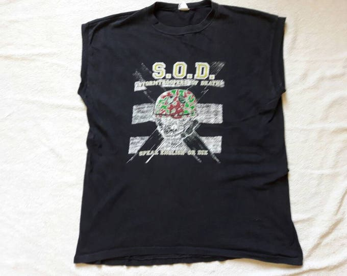 Featured listing image: Vintage Rare 1985 S.O.D. Muscle T Shirt. Vtg 1980s 80s Thrash Metal Tee Tshirt M.O.D. Billy Milano Anthrax Nuclear Assault