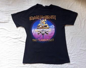 Vintage 1988 Iron Maiden T Shirt Vtg 1980s 80s Heavy Metal Tee Tshirt NWOBHM Powerslave Motorhead Judas Priest Saxon Led Zeppelin ACDC Ratt