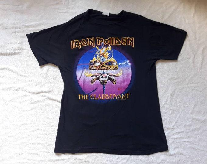 Featured listing image: Vintage 1988 Iron Maiden T Shirt Vtg 1980s 80s Heavy Metal Tee Tshirt NWOBHM Powerslave Motorhead Judas Priest Saxon Led Zeppelin ACDC Ratt