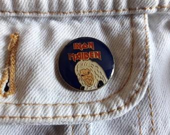 Vintage 80s Iron Maiden Pin Vtg 1980s Heavy Metal Badge Motorhead ACDC Judas Priest Guns N Roses Black Sabbath Saxon