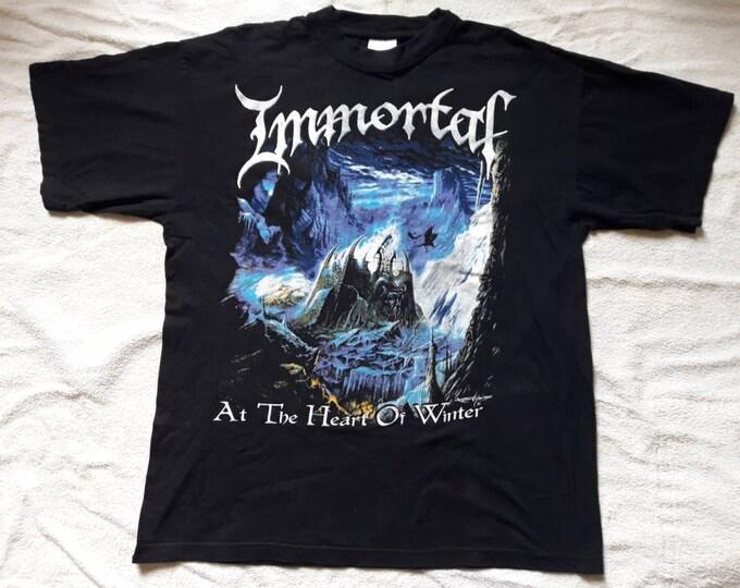 Featured listing image: Vintage 1990s Immortal  T Shirt . Vtg 90s 1990s Death Black Doom Metal Tee . Bathory Mayhem Darkthrone