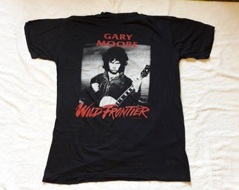 Vintage Rare 1987 Gary Moore Tour T Shirt . Vtg 80s 1980s Hard Rock Concert Tee Iron Maiden Rory Gallagher Hawkwind Thin Lizzy Cream