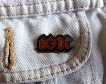 Vintage 90s ACDC Pin Vtg 1990s Heavy Metal Axl Slash Metallica Button Badge Motley Crue Skid Row Accept Rush Judas Priest AC/DC