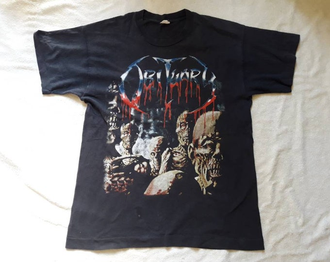 Featured listing image: Vintage 1997 Obituary Tee . Vtg 90s 1990s Florida Death Metal T Shirt Paradise Lost Deicide Morbid Angel Carcass