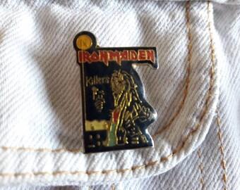 Vintage 90s Iron Maiden Pin Vtg 1990s Heavy Metal Badge Motorhead ACDC Judas Priest Guns N Roses Black Sabbath Saxon
