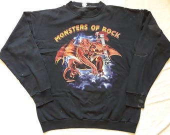 Vintage Thrashed 1991 Monsters Of Rock Sweater.