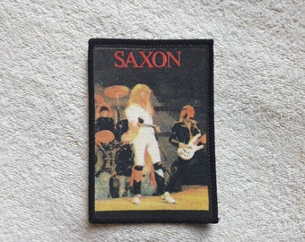 Vintage 80s Saxon Patch . Vtg 1980s Heavy Metal NWOBHM Motorhead Def Leppard Deep Purple Budgie Diamond Head