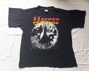 Vintage 1996 Heroes Del Silencio T Shirt Vtg 90s 1990s Heavy Hard Rock Metal Tee Los Suaves Mago De Oz Bunbury Loquillo