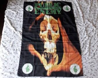 Vintage 1993 Public Enemy Flag Vtg 90s 1990s Hip Hop Rap Notorious BIG Dr Dre Flava Snoop Ice T 2Pac Chuck D Rage Against The Machine
