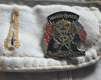 Vintage 80s Motorhead Pin Vtg 1980s Heavy  Metal Badge Motley Crue Poison Whitesnake Bon Jovi Guns N Roses Doro Beast Def Leppard Hawkwind