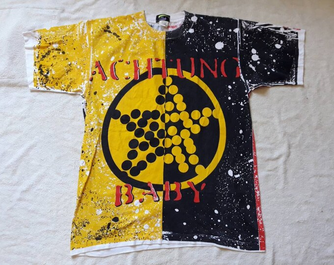 Featured listing image: Vintage 1992 U2 Tour Tshirt Vtg 90s 1990s Rock Concert Tee Cranberries Thin Lizzy Rory Gallagher SLF Allover Over Print OVP Stunning Sack