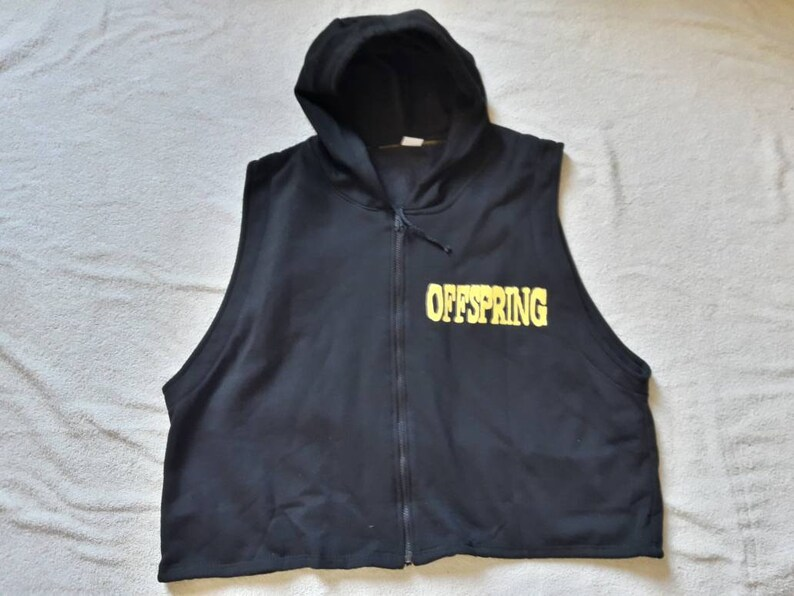 Vtg 90s 1990s Punk Rock Crewneck Rancid Hooded Top Green Day Pennywise Vintage 1994 Offspring Cropped Muscle Hoodie