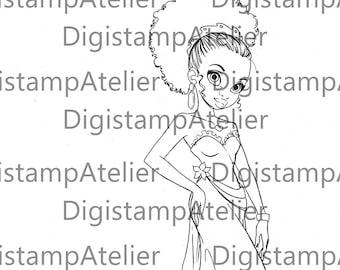 Night Dress. INSTANT DOWNLOAD Digital Digi Stamps