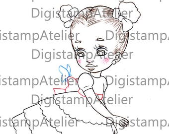 Girl with Butterfly. INSTANT DOWNLOAD Digital Digi Stamps.