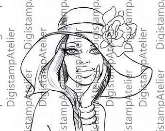 Girls Hat. INSTANT DOWNLOAD Digital Digi Stamps