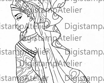 African Headwrap 3. INSTANT DOWNLOAD Digital Digi Stamps.