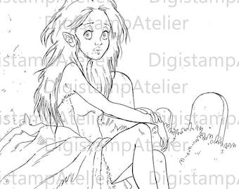 Vampire Girl 2. INSTANT DOWNLOAD Digital Digi Stamps.