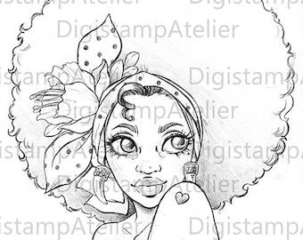 Afro Girl. INSTANT DOWNLOAD Digital Digi Stamps.