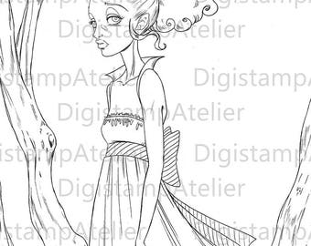 Vampire Girl. INSTANT DOWNLOAD Digital Digi Stamps.