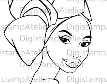 African Lady. INSTANT DOWNLOAD Digital Digi Stamps