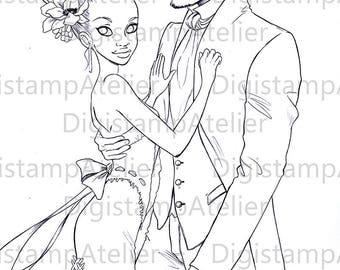Wedding Couple. INSTANT DOWNLOAD Digital Digi Stamps.